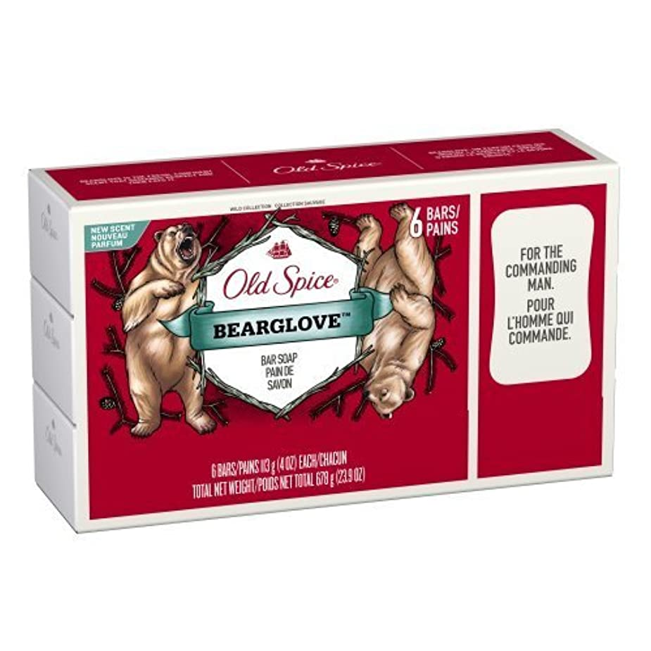 ラフ睡眠大統領物思いにふけるOld Spice Wild Collection Bearglove Men's Bar Soap 6 Count by Old Spice [並行輸入品]