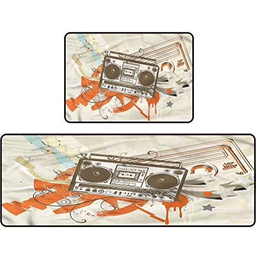 kitchen floor mat, Urban,Boom Box Illustration Urban, 17'x48' + 17'x24' Standing Mat Soft Waterproof Indoor Carpet