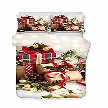 ZS-YD Funda nórdica con diseño de Navidad, funda de edredón con motivos navideños, impresión 3D, suave y cómoda (S3,220 x 240 cm + 50 x 75 cm x 2)
