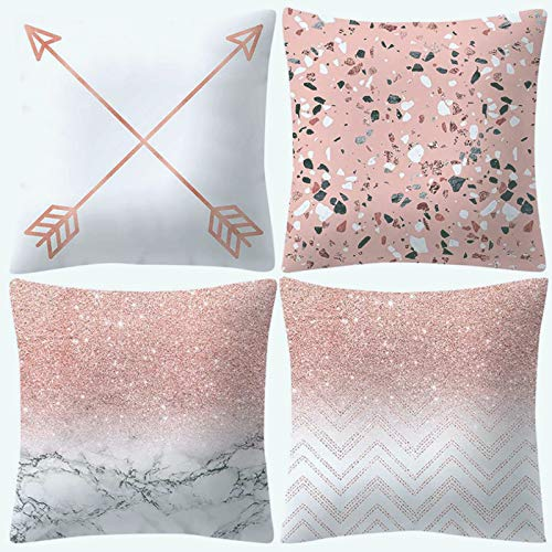 """UPDD Set of 4 Peach Skin Cashmere Throw Pillow Cushion Cover - Square Sofa Pillow Case Home Decoration Cushion Cover, Rose Gold Pink Pillowcase, 18"""" x 18"""" (45cm x 45cm)"""