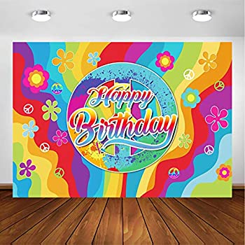 Avezano 60 s Groovy Hippie Party Backdrop for Bday Party Decorations Photoshoot Photography Background Peace and Love 1960 s Hippie Theme Happy Birthday Party Banner Supplies  7x5ft