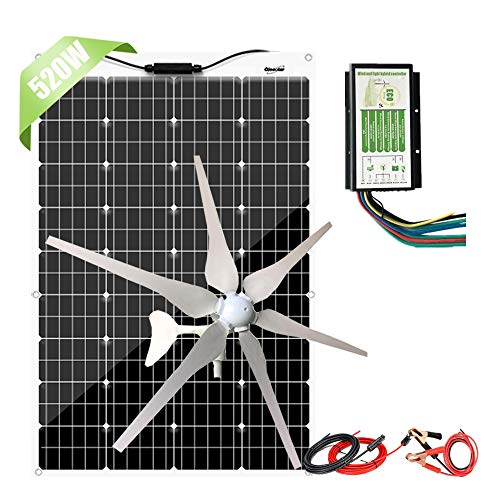 600W Flexible Solar Panel + 400W Wind Turbine Generator + Hybrid Charge Controller,1000 Watts 12V...