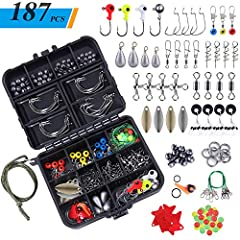 🎣 VARIOUS FISHING ACCESSORIES- TOPFORT 187 pcs fishing tackles set collects nearly all accessories including Off set hooks/barrel swivels / barrel snap swivels/swivel slides/ Three way cross-line barrel swivels /Sequins/ split shot weights/fishing be...