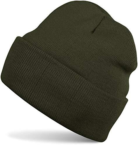 styleBREAKER Unisex warme Beanie Strickmütze, Feinstrick Mütze doppelt gestrickt, Winter 04024029, Farbe:Oliv