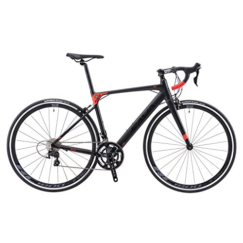 Aluminium Road Bike, SAVADECK R8 700C Carbon Fork Road Bicycle Lightweight Aluminium Alloy Frame Road Bike with SORA R3000 18 Speed Derailleur System and Double V Brake Black Red 52CM