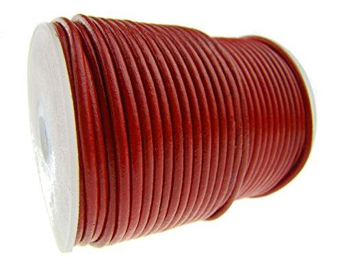 esnado - lederen koord rond 2 mm. Rood 100 m op rol