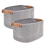 Labcosi Cotton Rope Basket with Vegan Leather Handle Set of 2, Woven Nursery Storage Baskets for Blankets, Magazines, Clothes-14''L11''W8''H (Grey/Medium)