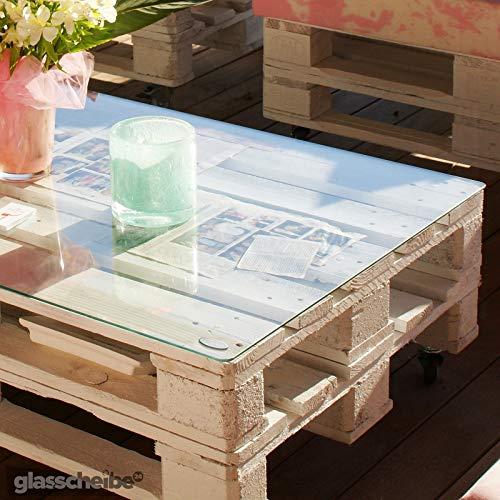 Temprix Glasplatte für Palettentisch | Glasauflage für Palettenmöbel & Couchtisch | Palettentischglas für Europalette | Glastischplatten in Maßanfertigung auf Anfrage | inkl. Ø 12,7 Abstandshalter