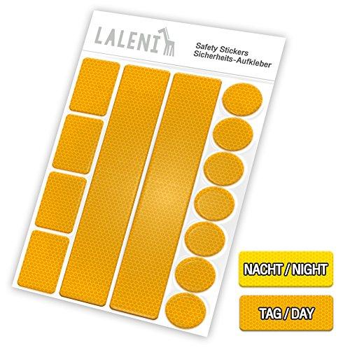 Laleni 13 teiliges Reflektor Set - Reflektoren selbstklebend, Aufkleber für Kinder, Kinderwagen,  1er Set, gelb