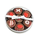 White Valentine I Love You Milk Chocolate Dipped Oreo Cookies Gift - |Olde Naples Hand Decorated Oreo Cookies | Gift Basket 7pc Oreo Cookies Assortment