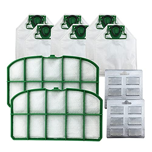 IUCVOXCVB Accesorios de aspiradora Bolsa de Polvo de 6pcs + Filtros HEPA 2 unids + Bloques de Fragancia 2PCS Ajuste para VK200 Accesorios de reemplazo de aspiradora (Color : Green)