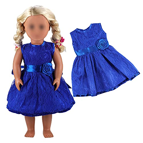 Miunana Kleider Dress Kleidung Prinzessin Abendkleid Blau für 46cm Puppe 18 Inch Zoll American Girl Dolls Stehpuppe Puppenbekleidung