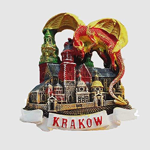 Kühlschrankmagnet, 3D-Drache, Krakau, Polen, Souvenir, für Zuhause und Küche, Magnet-Aufkleber, roter Drache Krakau, Polen, Kühlschrankmagnet, Touristen-Souvenir