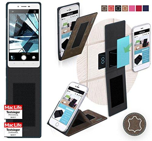 Hülle für Oppo Mirror 5s Tasche Cover Hülle Bumper | Braun Wildleder | Testsieger