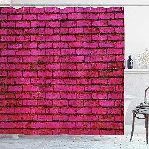 ABAKUHAUS Hot Pink Fuchsie Duschvorhang, Grunge Ziegelstein-Art, Seife Bakterie Schimmel & Wasser Resistent inkl. 12 Haken & Farbfest, 175x240 cm, Magenta Pink