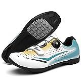 KUXUAN Zapatillas de Ciclismo Zapatillas de Bicicleta Sin Bloqueo para Hombre y Mujer Zapatillas de Ciclismo de Montaña con Asistencia Eléctrica Sin Bloqueo,White-37EU