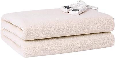 2つのコントローラーと5つの暖房設定、洗濯可能、インテリジェントなタイミング、マルチカラー、マルチサイズの大型デュアルコントロール電気毛布 (色 : 白, サイズ さいず : 180 * 200cm)