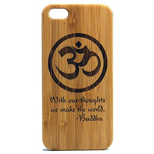 Om Buddha Quote Case for iPhone 7 Plus | iMakeTheCase Eco-Friendly Bamboo Wood Cover | with Our Thoughts We Make The World