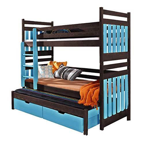 Triple Bunk Bed SAMBA Modern Trundle High Sleeper Mattress Drawers Ladder 3 Children Pine Wood FAST DELIVERY