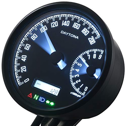 デイトナ バイク用 電気式スピードメーター タコメーター φ80 ブラックボディ ホワイトLED 200km/h 9000rpm VELONA 18376