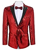 COOFANDY Shiny Sequins Suit Jacket Blazer One Button Tuxedo For Party,Wedding,Banquet,Christmas,Nightclub, Red, Medium