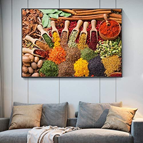 Lienzo de cocina, carteles e impresiones de arte, hierbas y especias, pintura de escritorio, cuadro artístico de pared, decoración del hogar, 30x40cmx1 pieza sin marco