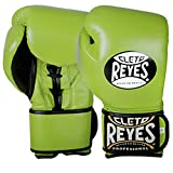 Cleto Reyes Lace Up Hook and Loop Hybrid Fit Cuff Boxing Gloves, Citrus Green, Large