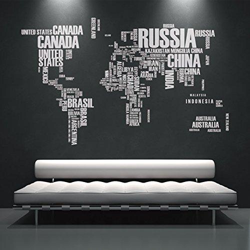 Moonwallstickers Mappa del Mondo con Nomi di Paesi con Adesivo–194x 120cm | 194,1x 119,9cm