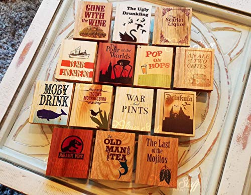 Solid Wood Book Shaped Coasters with Drinking Puns