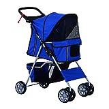 PawHut Pet 4 Wheels Travel Stroller Dog Cat Pushchair Trolley Puppy Jogger Folding Carrier (Blue)
