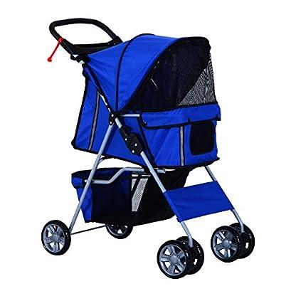 PawHut Pet 4 Wheels Travel Stroller Dog Cat Pushchair Trolley Puppy Jogger Folding Carrier (Blue) 1