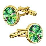 Crystals & Stones, eleganti gemelli in argento 925placcato oro 24K, da uomo, con Swarovski Rivoli, PIN/75 e Placcato oro, colore: Vitrail Medium, cod. 7