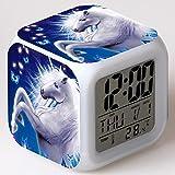 TYWFIOAV niños Lindo Unicornio de Dibujos Animados Reloj Despertador niños Reloj LED...