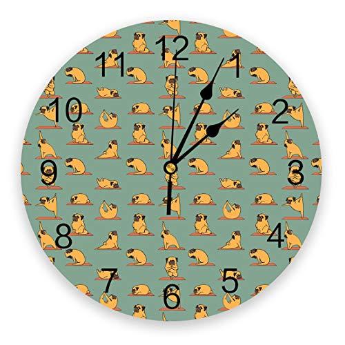 Vcnhln Reloj de Pared de Yoga, decoración del hogar, Dormitorio, Reloj silencioso, Reloj Digital de Pared, Reloj de Pared para habitación de los niños, 25x25 cm