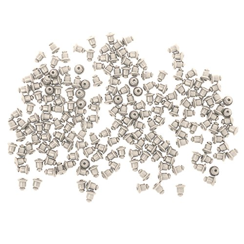 lahomia 200 Pairs of Copper Primer Earring Clasps - Sliver Plated, 5 * 1mm