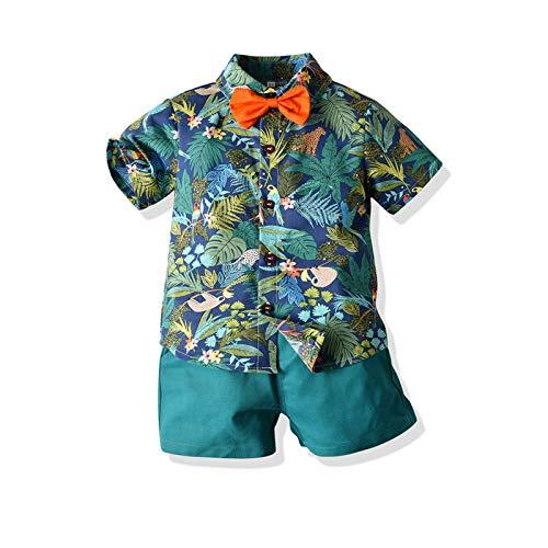 Conjunto de pantalones cortos de verano para bebé, 2 piezas, estampado hawaiano, manga corta, camisetas y pantalones cortos de playa de algodón