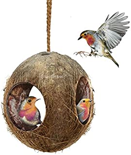 SunGrow Coco Bird Hut,  4.4 Inches Hut with 3 Openings,  Raw Coconut Husk,  Perfect for Hiding Millet and Nesting Material,  Birdhouse Makes for Mini Condo,  Home Decor