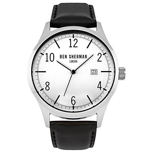 Ben Sherman Hombres Reloj De Cuarzo con Esfera Analógica Blanca y Negro Correa de Piel wb053wb