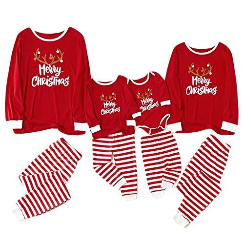 Fossen Pigiama Famiglia Natale Famiglia Set da Pigiama Natalizio Abbinato a Pigiami per Baby Child Father Mother Pigiama 2 Pezzi Top T-Shirt+Pantaloni Pigiama Pagliaccetto Cotone Stampa Divertenti