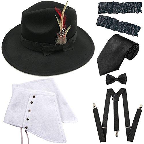 1920s Trilby Manhattan Gangster Fedora Hat, Gangster Spats,Garters Armbands,Suspenders Y-Back Elastic Trouser Braces,Pre Tied Bow Tie,Gangster Tie (OneSize, Black)