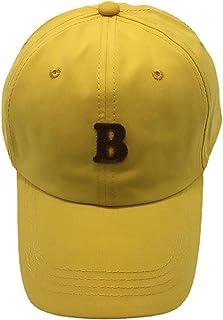 ドーム、夏の男性と女性の日焼け止めつばの広い野球帽、Bレターパッチ屋外レジャーキャップ、快適で通気性 yellow