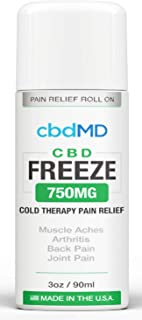 750 mg Hemp Organic Freeze ROLL ON Pain Relief Cold Topical Therapy Lotion Vegan Arthritis Back Pain knees USA Grown Gluten Free Non GMO Joint Health Skin Immune Support