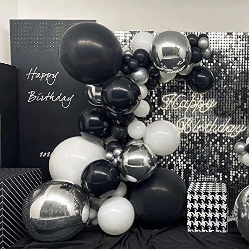 TITSHOP 101 Stück Luftballon Girlande Set Latex Schwarz Weiß Silber Dunkle Farbe Luftballons Helium Ballons Ballonbogen Kit für Geburtstag Hochzeit Graduierung Vorschlag Dekoration Party Deko