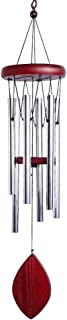 Wind Chimes Outdoor Wind Chimes Outdoor Large Deep Tone 6 Tubes Tuned Relaxing Melody, Great as a Quality Memorial Gifts or to Keep for Your own Patio, Porch, Garden, or Backyard 28 Inch (Silver)