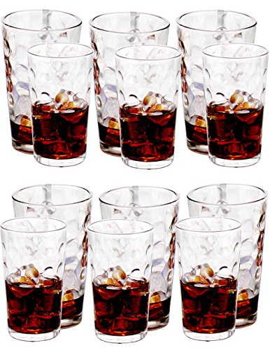 Amlong Crystal Harmony Drinking Glasses Set of 12 pieces, (6 X 12oz, 6 X 16oz)