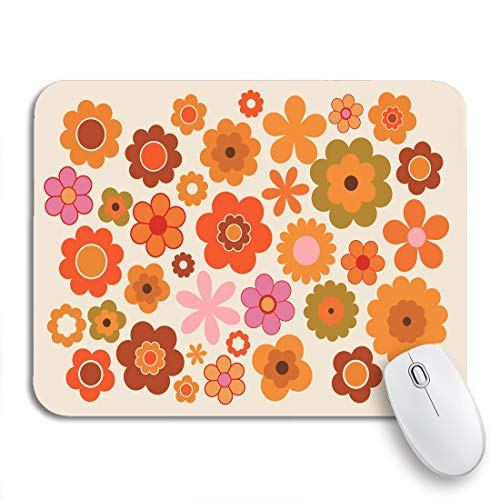 Adowyee Gaming Mouse Pad Orange 70S Vintage Flowers Green Power 1970 Retro Seventies 9.5'x7.9' Nonslip Rubber Backing Mousepad for Notebooks Computers Mouse Mats