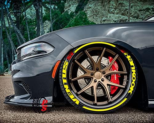 Ps1 Hankook Ventus S1 - Tiras para rotulación de neumáticos, juego de pegatinas para 4 neumáticos de goma, 8 unidades, 14-22 pulgadas
