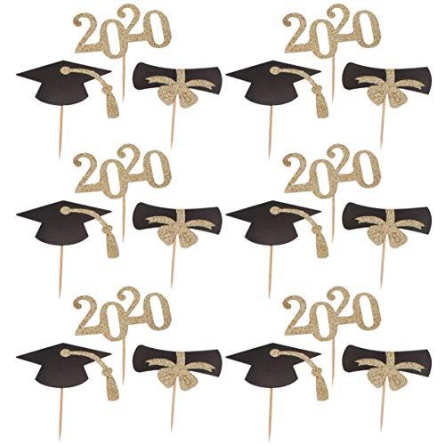 Amosfun 48Pcs 2020 Graduation Cake Topper Bachelor Hut Kuchen Picks Obst Zahnstocher Topper Absolvent Party Kuchen Dekoration Gastgeschenke