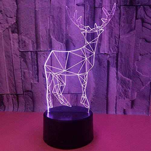 VIWIV Lámpara de Escritorio Elk LED luz de Color Degradado atmósfera 3D estéreo táctil Remoto USB luz de Noche mesita de Noche decoración Creativa Escritorio Cumplea 20 * 13 cm