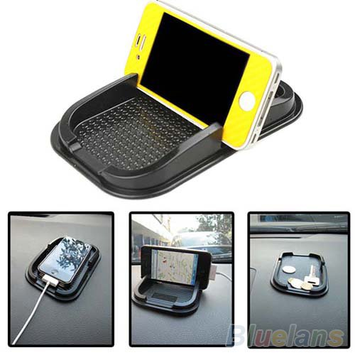 Car Dashboard Black Color Sticky Pad Mat Anti Non Slip Gadget Mobile Phone GPS Holder
